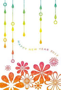 花としずく 年賀状 2017 かわいい 無料 イラスト 明るいグラデーションカラーが綺麗な年賀状です。いつもの年賀状のデザインに飽きてしまった方に。ほかの人とは少し違う年賀状を送ってみませんか。色はレッド系とブルー系の2種類ご用意しました。