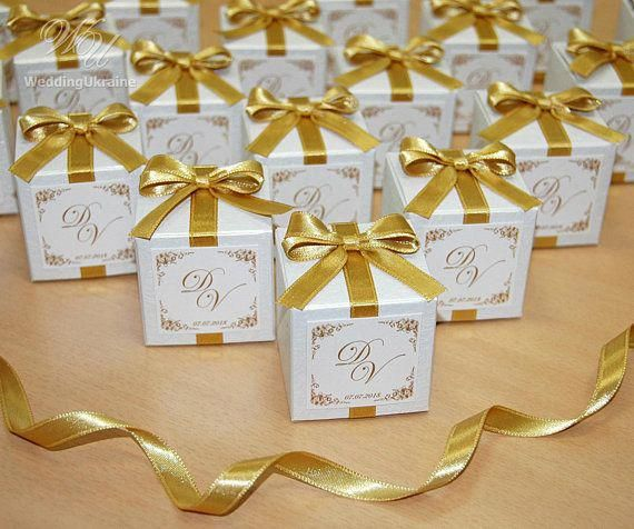 Wedding Bonbonniere Favor Box With Gold Bow White Candy Box With