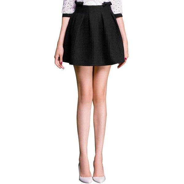 Yoins Black High Waist Mini Pleated Skater Skirt ($25) ❤ liked on Polyvore featuring skirts, mini skirts, black, silk mini skirt, flared mini skirt, skater skirt, silk skirt and high waisted mini skirt