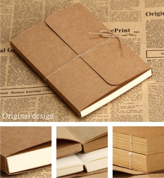 2014  vintage kraft cover paper  A4 A5 blank  doodle / notebook NT001