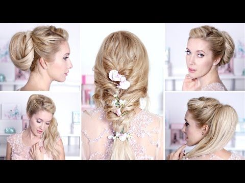 Easy hairstyles for prom/wedding/party ★ Quick curly updo for short/medium long hair - YouTube