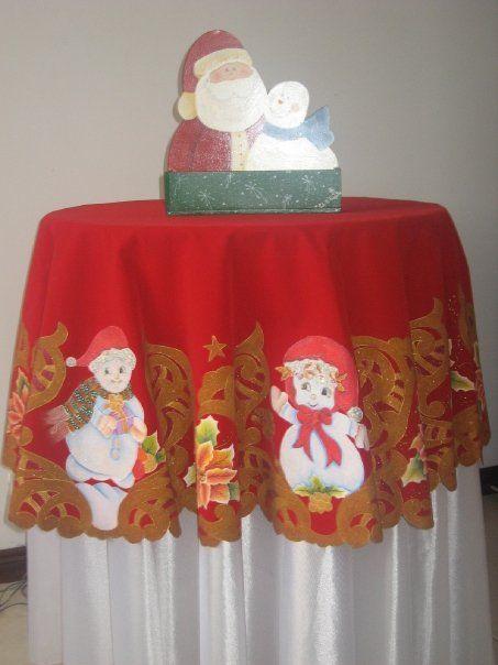 Mantel Navideño Pirograbado sobre gamuza