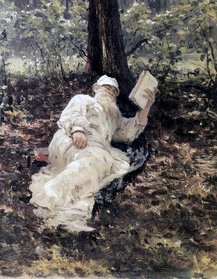 Ilia Repin, Leo Tolstoy in the forest «Лев Николаевич Толстой в лесу» 1891