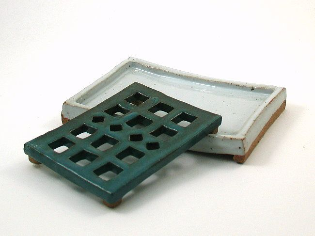 Turquoise over White Handmade Ceramic Soap Dish