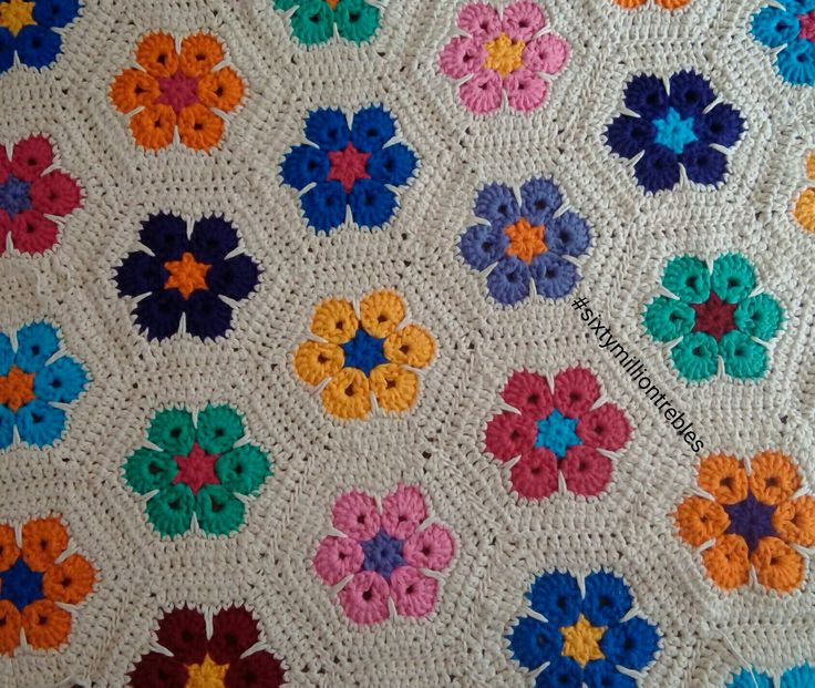 African flower hexagon blanket made with Drops Paris yarn and 5 mm hook for #sixtymilliontrebles - no pattern just made up as I went along :)
