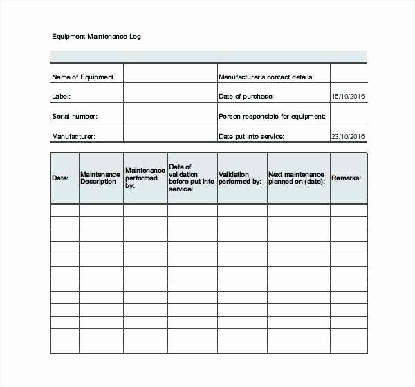 Equipment Maintenance Schedule Template Excel ...