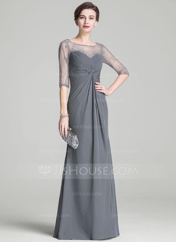 e5985eddba137 A-Line/Princess Scoop Neck Floor-Length Chiffon Mother of the Bride Dress  With Ruffle Beading Sequins