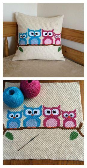 Crochet Owl Cushion Cover and More Gorgeous Pillow Crochet Patterns #Owl #Crochet