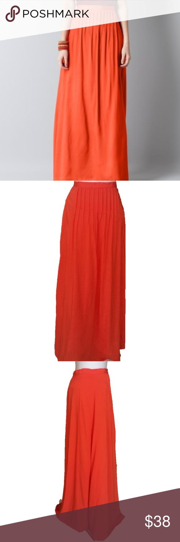 """NWT LOFT Orange Maxi Rayon Skirt Size 6 Orange rayon maxi skirt by LOFT is NWT. Pretty pintucks, 1"""" grosgrain ribbon at waist. Side zip. Cotton lining. Size 6, measurements are flat and approximate: Waist 15"""" Length 39"""" LOFT Skirts"""