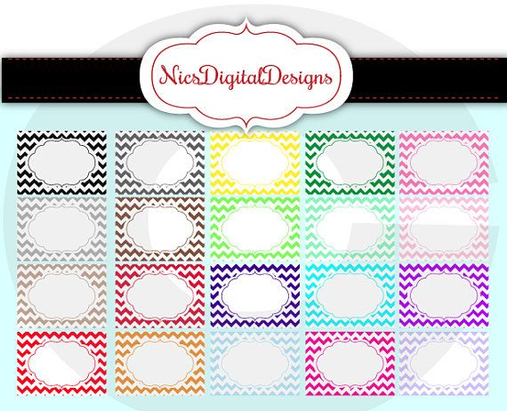 Buy 2 Get 1 Free-20 Chevron Label in Rainbow Colours in