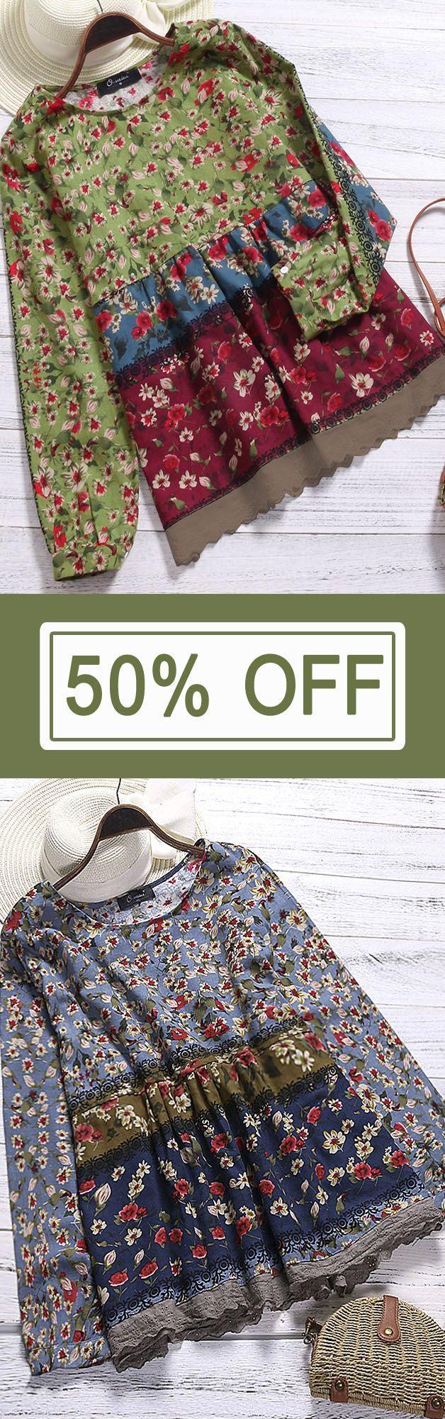 Vintage Women Floral Printed Patchwork Shirt. Vintage Style, Loose Style, Long Sleeve, O-Neck. Color:Blue,Green,Wine Red. Size:S,M,L,XL,XXL,XXXL,XXXXL,5XL. Buy now!  #women #blouse #fashion