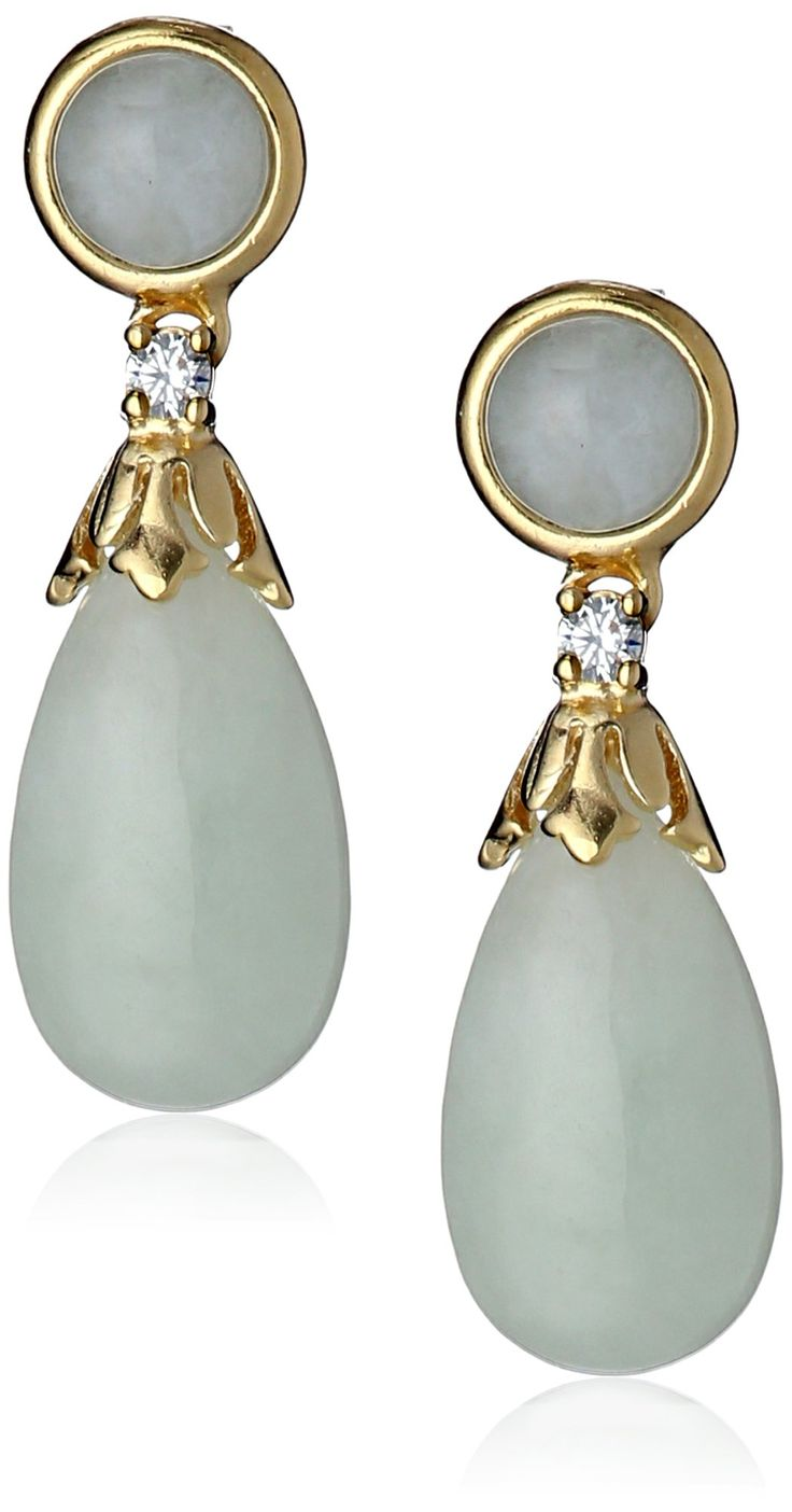 18k Yellow Gold Plated Sterling Silver Jade and Cubic Zirconia Teardrop Earrings: