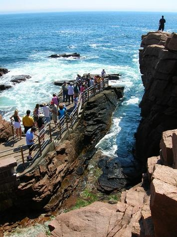 Thunder Hole, Acadia National Park, Maine, U.S.A. When the ocean waves come in and hit the rocks it echoes like thunder.