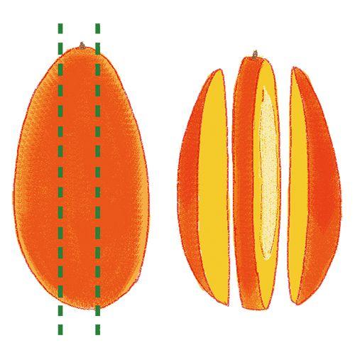 マンゴーのおいしそうな切り方ーダイスカットー