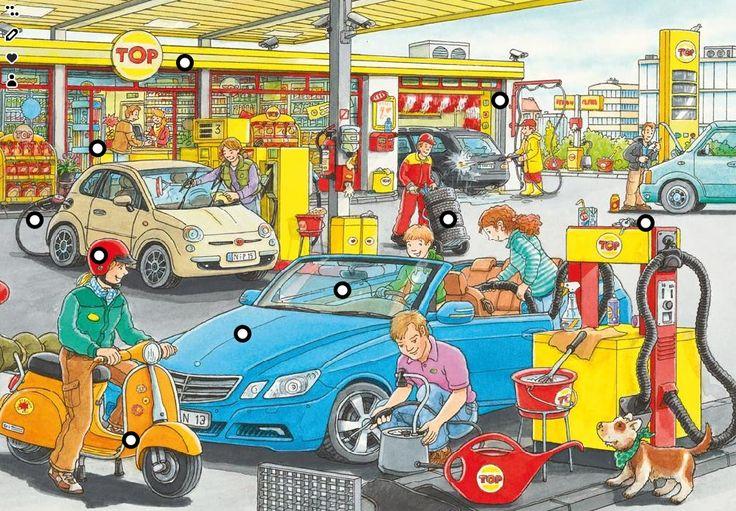 Thema verkeer. Interactieve vertelplaat / praatplaat 'Het tankstation' via www.juf-lisanne.nl