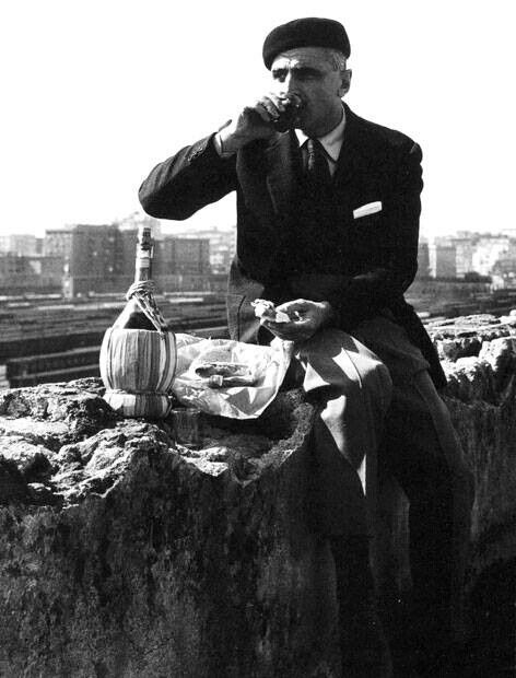 Old Italy-lunch break of wine and panino. Reminds me of my uncles.