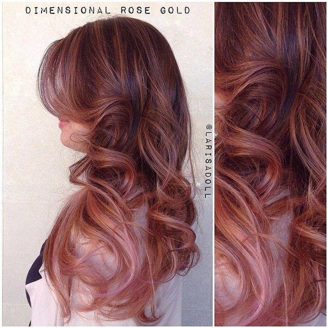 Rose-gold ombré with auburn hair