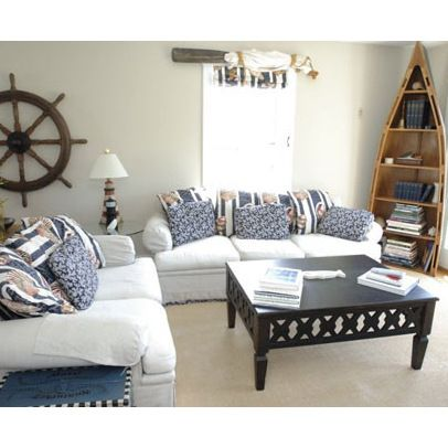 Nautical Living Room Design This Row Boat Book Case