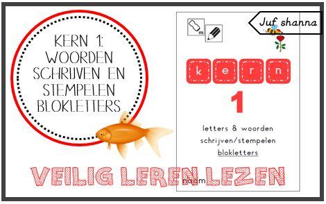 Kern 1: woorden schrijven en stempelen in blokletters