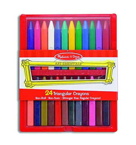 Melissa & Doug Triangular Crayons - 24-Pack in Flip-Top C...