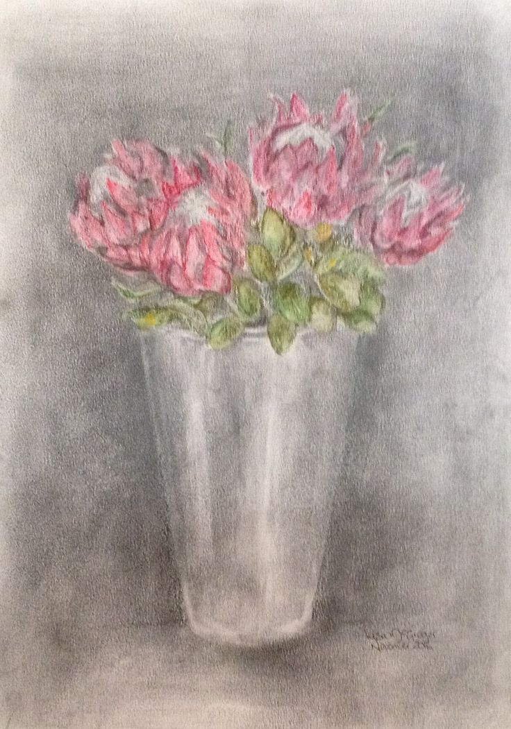 Proteas in a silver vase A3 Graphite & water soluble  Pencils Lisa McGregor