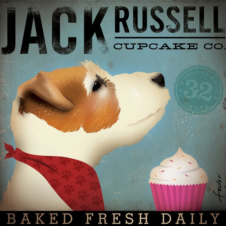 Jack Russell Cupcake Company original illustration giclee archival signed artists print 12 x 12 by stephen fowler. $39.00, via Etsy.