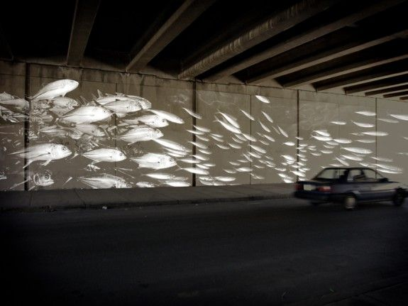 Conceptual rendering of a reflective paint mural to activate the I-95 underpass on Columbia Avenue.