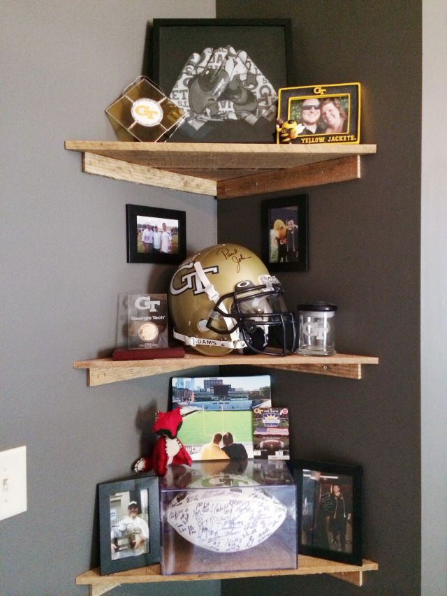 Georgia Tech Man Cave with wooden accents #georgiatech #mancave #office #renovation #palletwall