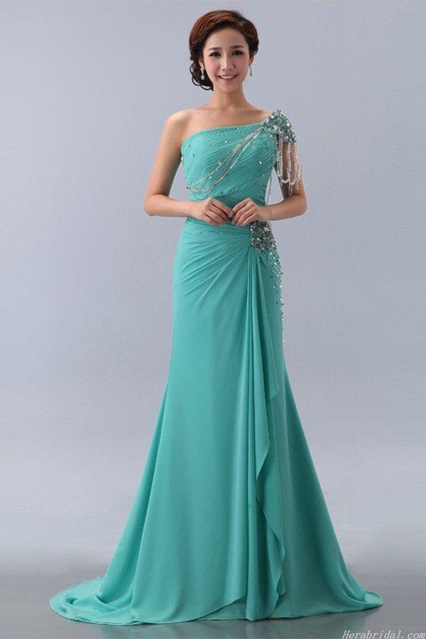 Modest Cap Sleeve Beaded Green Chiffon Formal Dress Prom Dress http://www.iwedplanner.com/wedding-vendors/wedding-dresses-and-attire/