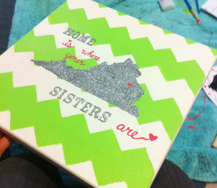 "Chevron canvas va outline ""home is where your sisters are"" delta zeta big little crafts with Texas and the heart painted over dallas"