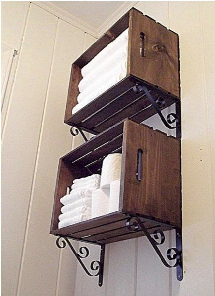 Crate Bathroom Storage   * i really do love old crates *