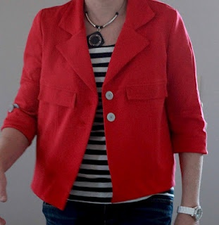 From Girls in the Garden.  I love the idea of a knit structured jacket.