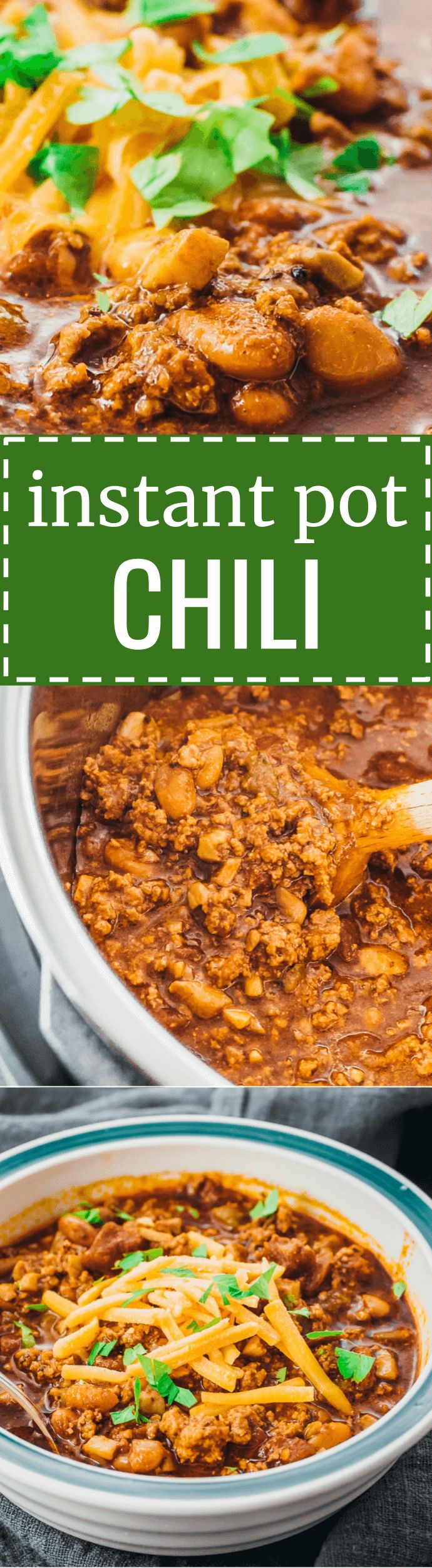An easy, homemade, low carb chili recipe with ground beef made using the Instant Pot pressure cooker. keto / beans / families / comfort foods / cooking / con carne / spicy / from scratch / best / seasoning / diet / atkins / induction / meals / recipes / easy / dinner / lunch / foods / healthy / gluten free / recipe / cheese / award winning / quick / simple / classic / sides / sauce / party / toppings / ideas #instantpot #chili #lowcarb via @savory_tooth