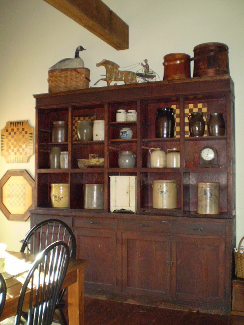 Old store cabinet with crocks lba vintage finds for American woodcraft kitchen cabinets