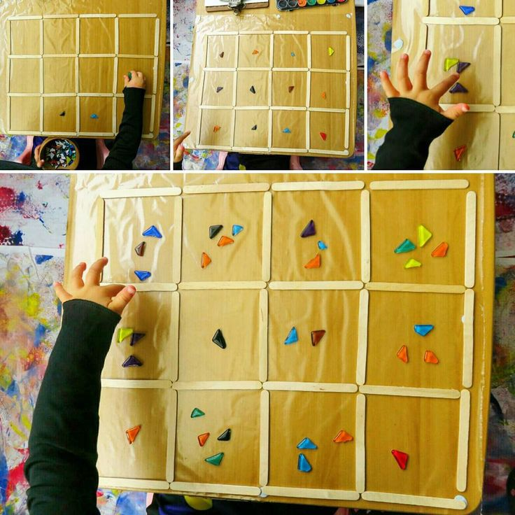 After seeing a trellis offered as a grid for loose parts play on @stimulatinglearningwithrachel 's feed I absolutely had to offer my artist/mathematician daughter a grid to play with 💖 I blue tacked contact paper to a table and pressed down popsicle sticks in the shape of a grid. It was amazing to see the learning unfolding as Miss 3 explored her grid with mosaic tiles. I saw her crossing the midline (pre-writing) as she placed her tiles from the bowl into each square. She was scanning left…