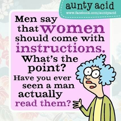 Google Image Result for http://everythingfunny.org/wp-content/uploads/2012/07/91.jpgMake A Book, Aunty Acid, Auntyacid, Following Direction, Funny Cartoons, So True, Funny Stuff, Men Vs Women, True Stories