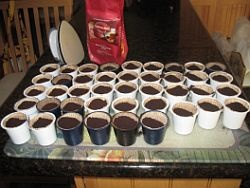 Inexpensive lids to reuse K-cups. 100 lids for $7! Each K-cup can be reused with your own coffee about 10 times.