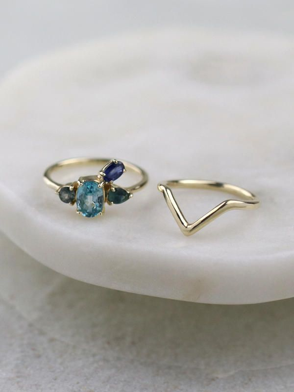 72e89230a098c SET: Blue Serenity Cluster Ring + Chevron Deep V Stackable Ring ...
