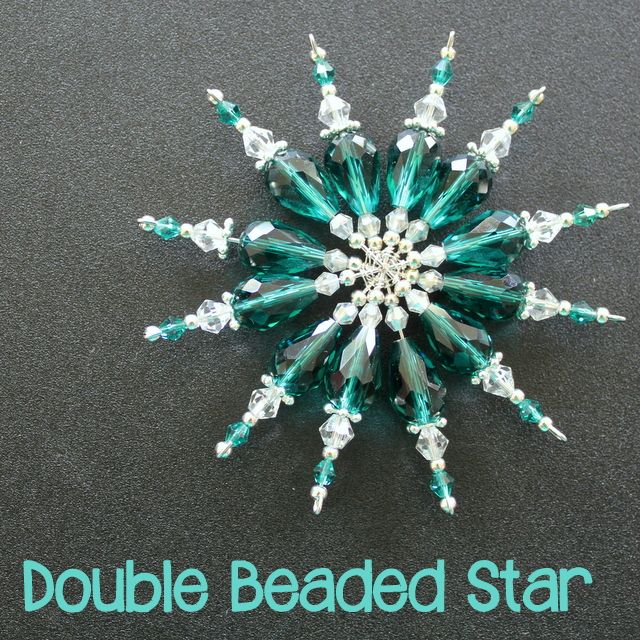 Double Beaded Star Tutorial (or double snowflake) for Christmas - click for tutorial