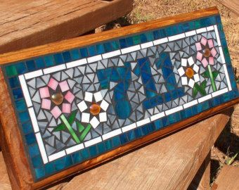 Mosaic Outdoor Sign / Plaque Name or Address by BeadedGlass