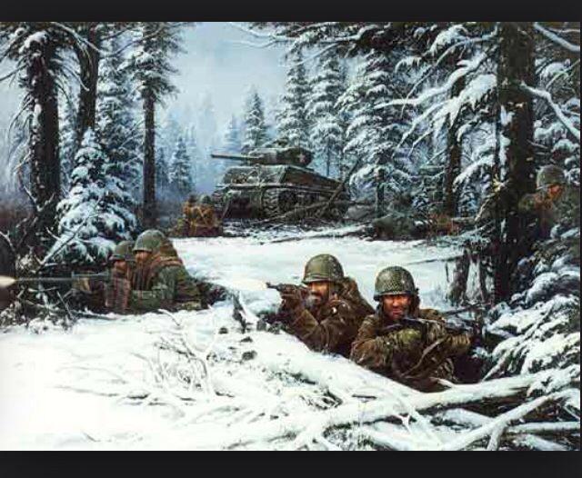 1. Je ziet een schilderij met soldaten. Je weet niet tegen wat de soldaten vechten en liggen in de sneeuw. Op de achtergrond zie je dennenbomen met sneeuw en een legergroene tank.  2. Het schilderij heeft een groot voor klein achter effect. De soldaten staren naar iets, maar je weet niet naar wat. Dat geeft een erg spannend effect.