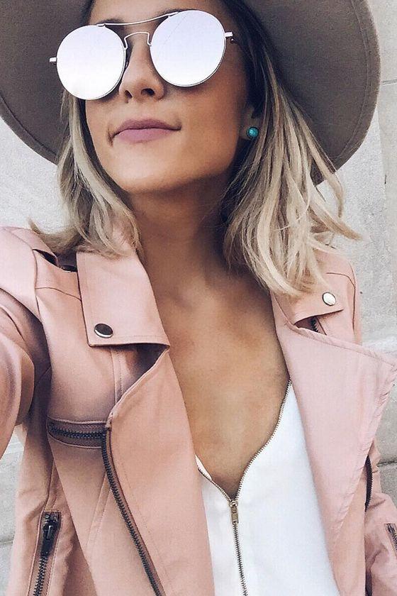 Pinterest: @eighthhorcruxx. Blush pink leather jacket for spring/summer
