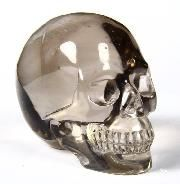 "Clear 2.0"" Smoky Quartz Rock Crystal Carved Crystal Skull, Realistic"