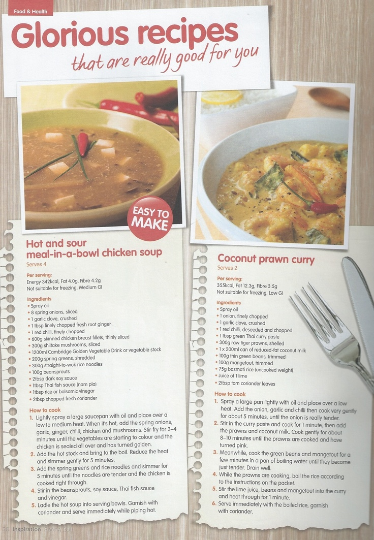 Glorious recipes, Hot and sour meal in a bowl chicken soup. and Coconut Prawn curry