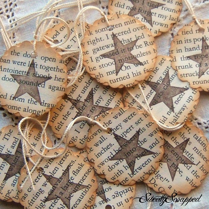 Star and Book Pages Hang Tags- Vintage Inspired, Repurposed, Upcycled, Scalloped. $3,75, via Etsy.