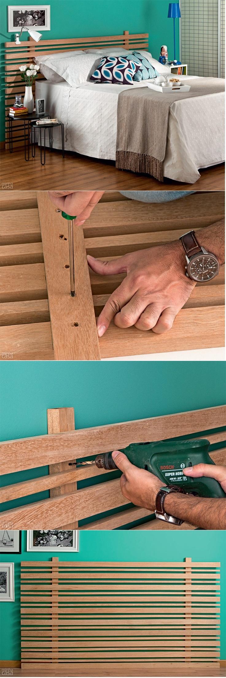 Aprenda a fazer uma cabeceira de ripas de madeira.                                                                                                                                                                                 Mais