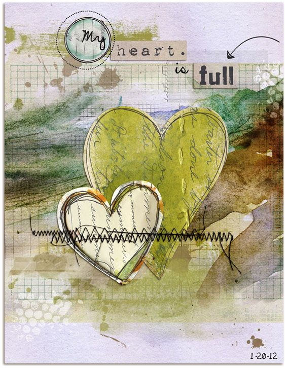 These two art journal pages were created digitally in PhotoShop using a variety of papers and elements.