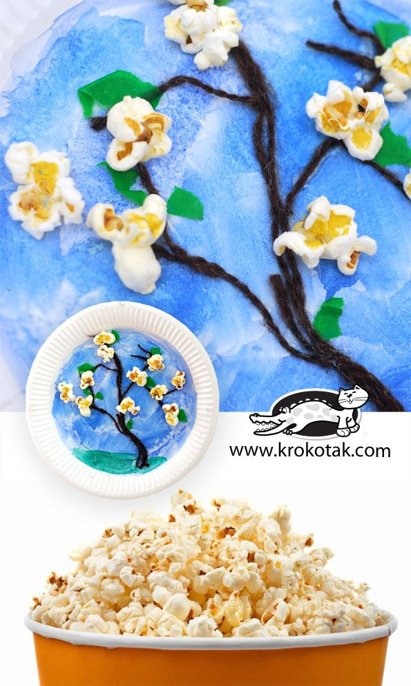 Popcorns blossoms, yarn trees on a paper plate.