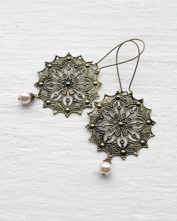 Pink Pearl & Antique Gold Medallion Earrings on Kidney Earwires - Long Filigree Earrings - Big Statement Jewelry - Pale Pink Pearl Earrings