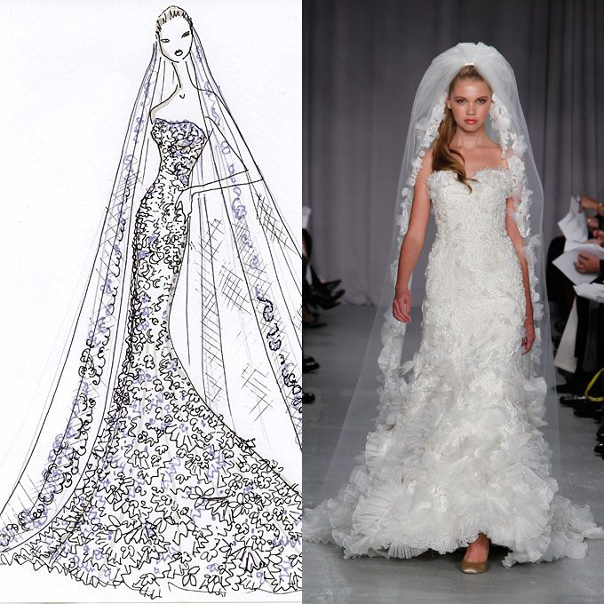 designer wedding gowns from sketch to dress